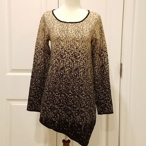 Rafaella Gold and Black Asymmetric Hem Sweater**